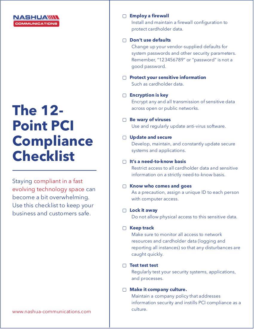 Nashua Communications 12-Point PCI Compliance Checklist boarder